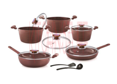 Cookware Set - 12 Pcs. Deluxe Chocolate