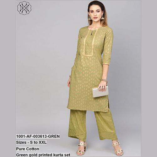 Pure Cotton green Gold Printed Kurta Set