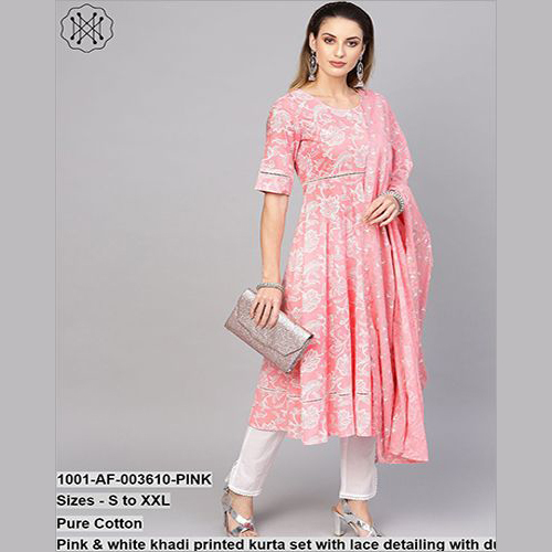 Pure Cotton Pink & White Khadi Printed Set With Lace Detailing With Dupatta