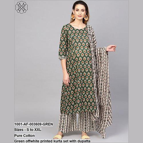 Green Off White Printed Kurta Set With Dupatta