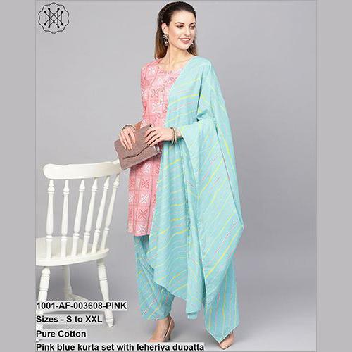 Pink Blue Kurta Set With Leheriya Dupatta
