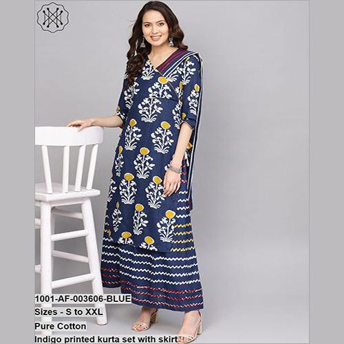 Pure Cotton Indigo Printed Set With Skirt
