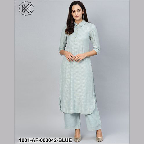 Blue Gold Self Designed Kurta Set With Skirt
