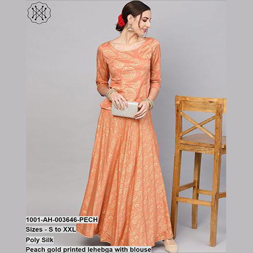 Peach Gold Printed Lehebga With Blouse