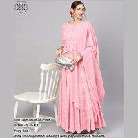 Pink Khadi Printed Lehenga With Peplum Top & Dupatta