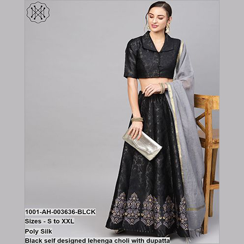 Black Self Designed Lehenga Choli With Dupatta