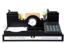 Pen Stand With Watch Calculator & Coaster Plates