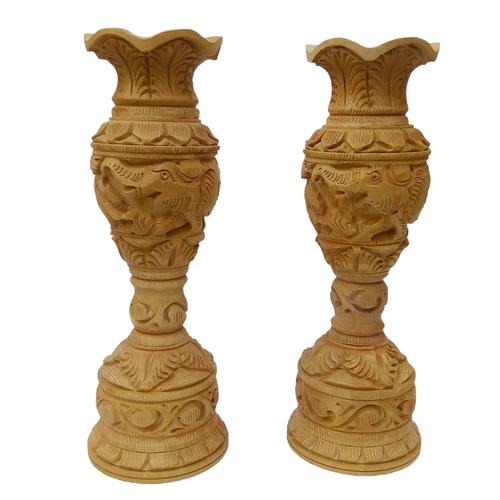 Wooden  Flower Vase/Pot Set of 2  pic