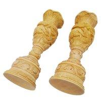 Wooden Handmade Elephent Carving shikar Flower Vase/Pot Set of 2 for Home Decoration Wooden Vase