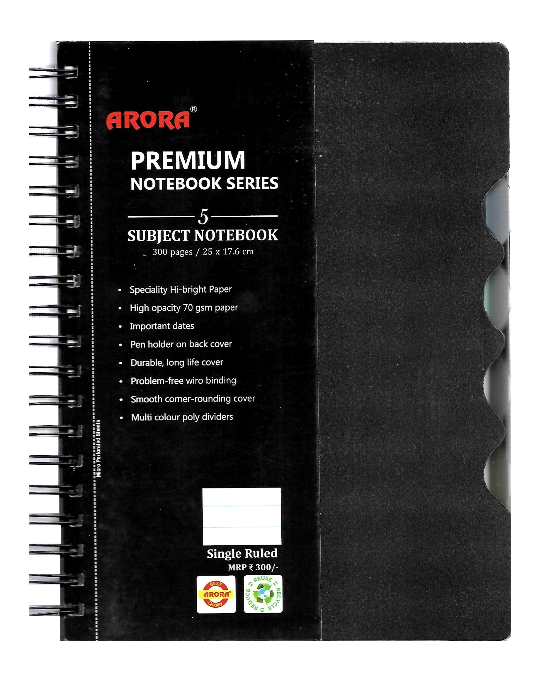Nescafe Size 5 Subject Premium Wiro Notebook - 70 GSM, Single Ruled, 300 Pages