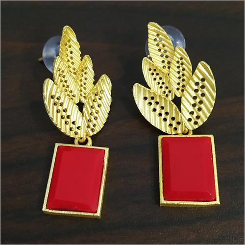 Matt Golden Jaipuri Stone Earrings