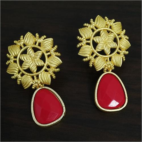 Matt Golden Jaipuri Red Stone Earrings
