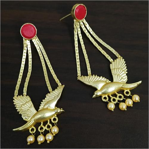Matt Golden Jaipuri Parrot Stone Earrings