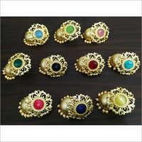 Classy Matt Rose Gold Jaipuri Stone Stud Jhumka