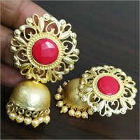 Ladies Matt Rose Gold Jaipuri Stone Stud Jhumka