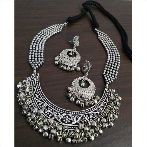 Oxidised Hasli Heavy Ghunghru Ball Chain Necklace Set