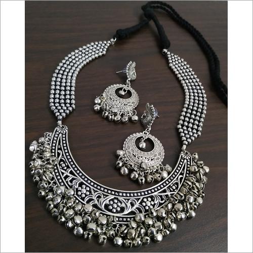 Oxidised Hasli Heavy Ghunghru Ball Chain Necklace Set