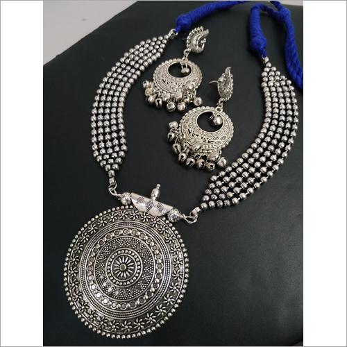 Designer Oxidized Ball Chain Heavy Necklace Set