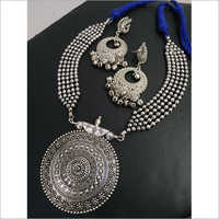 Designer Oxidized Ball Chain Heavy Necklace Set