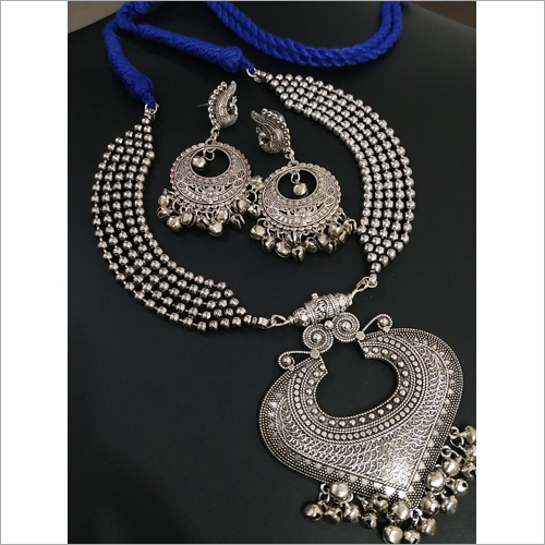 Ladies Fancy Oxidized Ball Chian Heavy Necklace Set