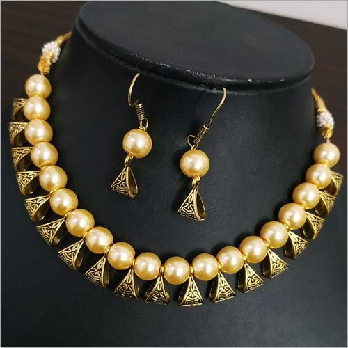 Beaded Loop Antique Golden Necklace Set