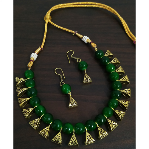 Party Wear Beaded Loop Antique Golden Necklace Set