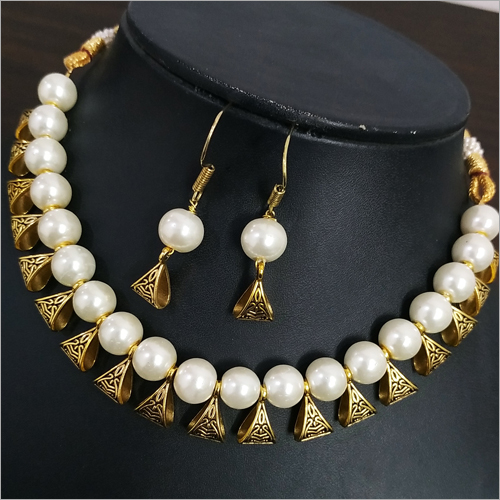 Beaded Loop Antique Golden Necklace Set