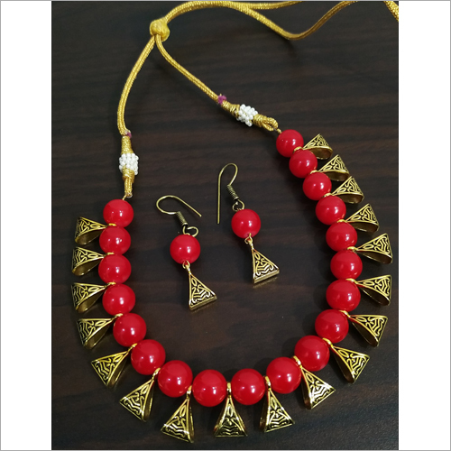 Red Beaded Loop Antique Golden Necklace Set