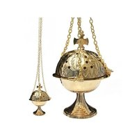 Brass Censer With Boat, Spoon & Chain