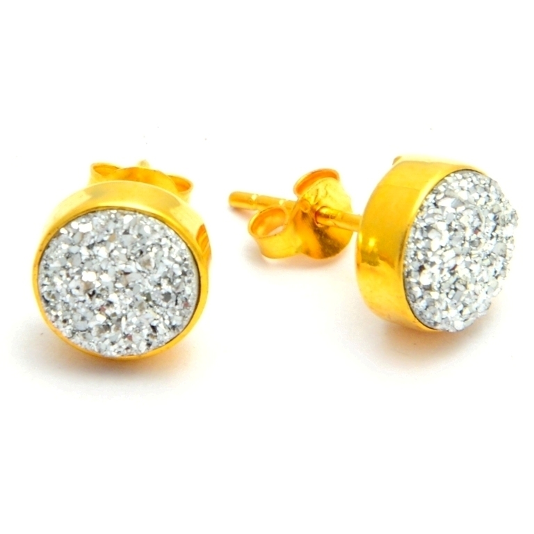 Silver Round Druzy Stud Earring