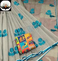 Flower Print Cotton Silk Saree