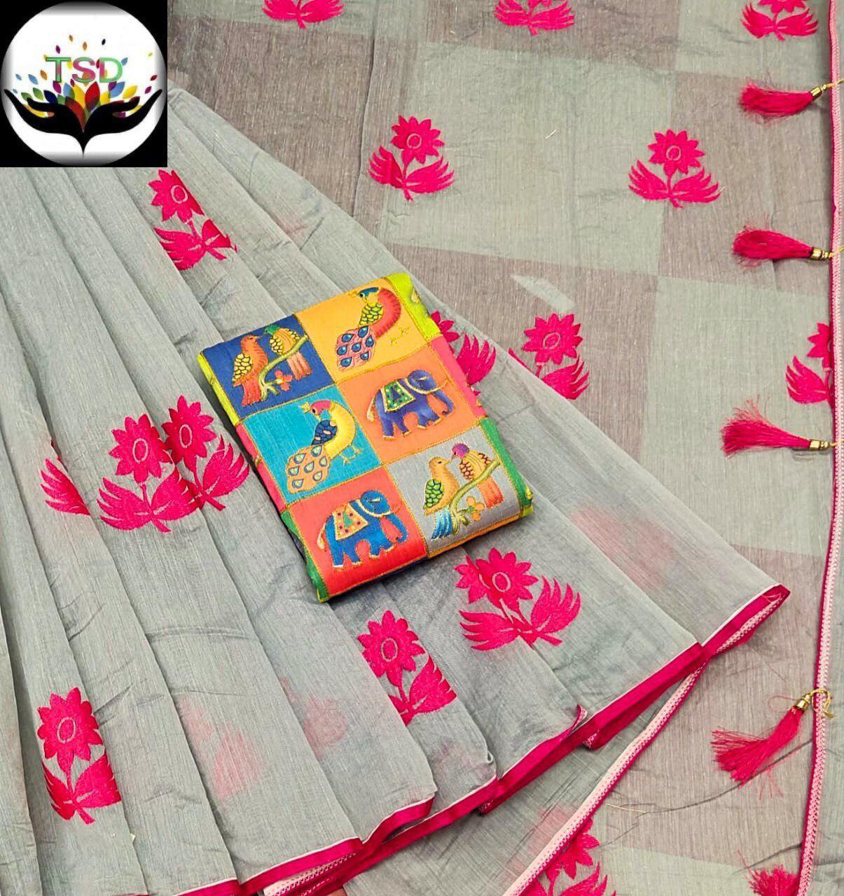 Print Cotton Silk Saree
