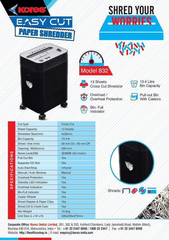 Kores Paper Shredder Model-832