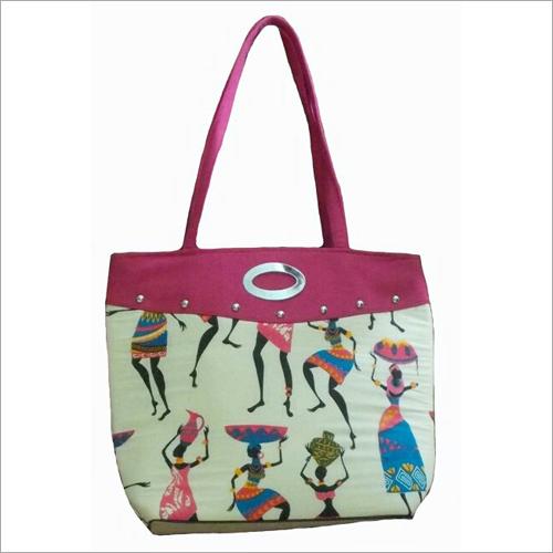 Ladies Jute Printed Hand Bag
