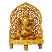 Wooden Ganesh Back Jali Stetu Idol 30 cm