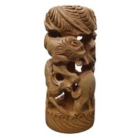 Handicrafts Round Shikar Statue (Jungle seen) Fine Carved Wooden Decorative Showpiece - 15 cm (Wood)