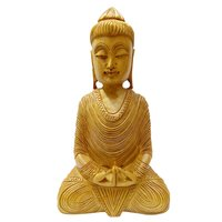 ,Wooden Buddha Hand Carved  Sitting Buddha Statue 8 Inch