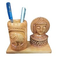 Wooden Handmade Elephant Design and Buddha Head Pen Stand for Office Table & Desk