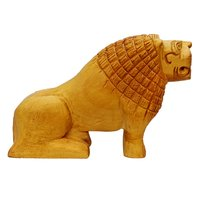 Wooden Lion Sitting Position Handicraft Decoretiv Item