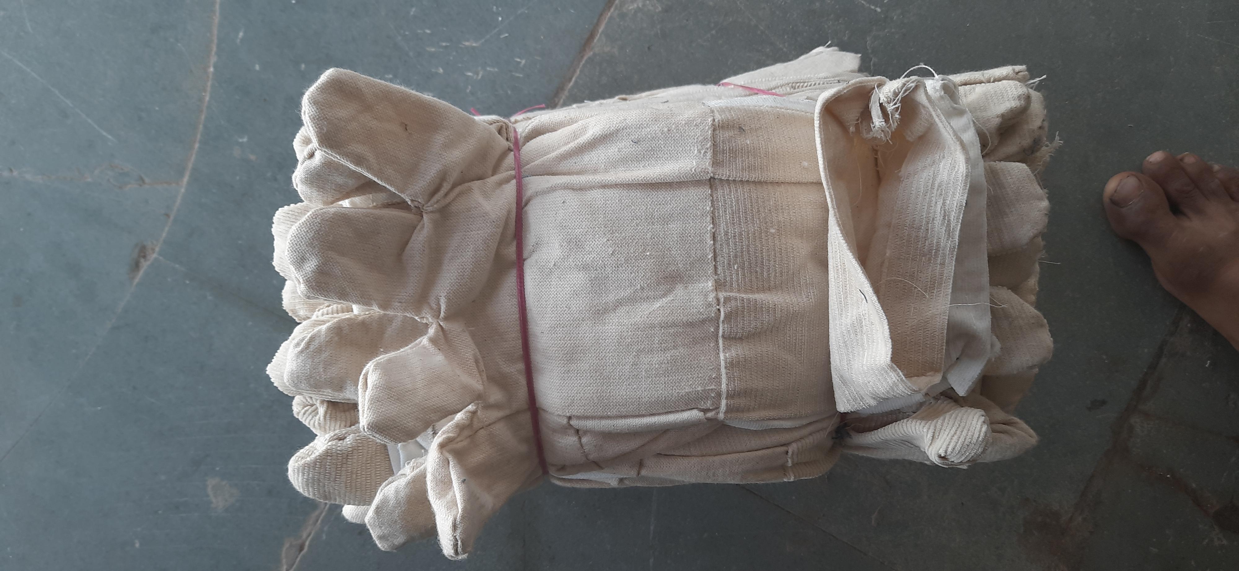 grey fabric hand gloves