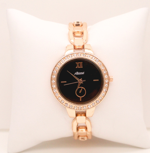 Rose gold belt black dial female wrist watch