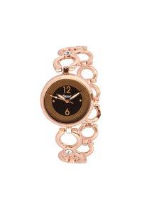 Rose gold belt black dial female wrist watch