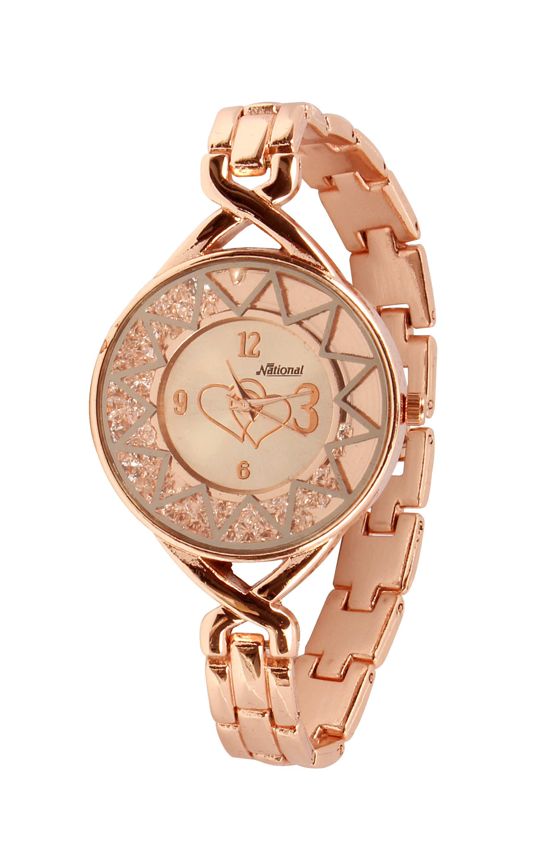 Rose gold dial female watch