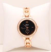 Rose gold black wrist watch