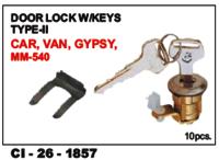 Door Lock W/Keys Type-Ii Car, Van Gypsy L/R