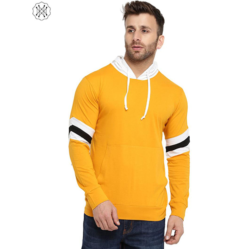 Multi Colored Solid Full Sleeves Hooded T-Shirt