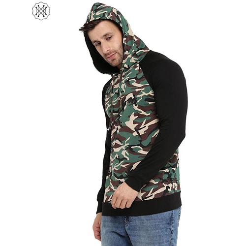 Multi Colored Solid Full Sleeves Hooded