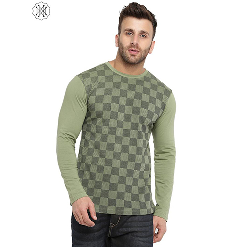 Green Colored Solid Full Sleeves Round Neck T-Shirt