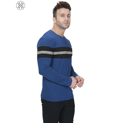 Blue Colored Solid Full Sleeves Round neck T-Shirt For Men