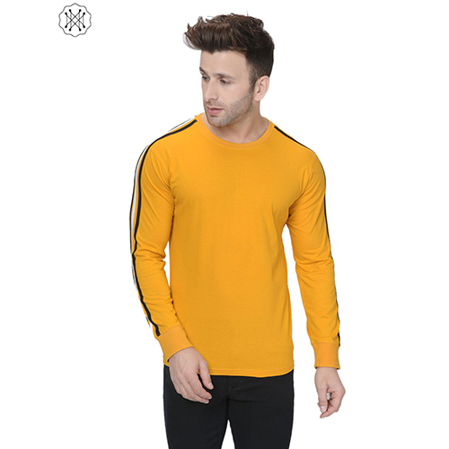 Yellow colored Solid Full Sleeves Round Neck T-Shirt